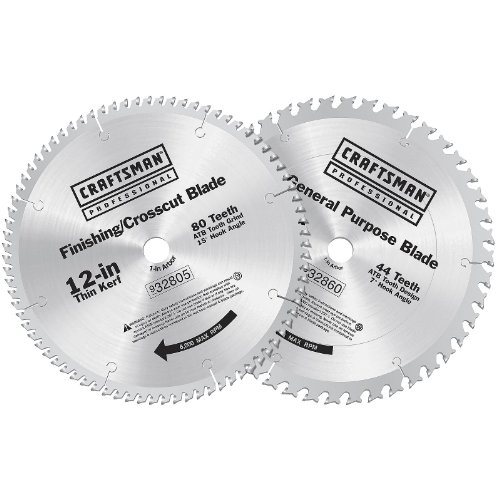 UPC 008925064107, Craftsman Professional 9-32865 12 in. Carbide Saw Blade Combo Pack, 80T & 44T
