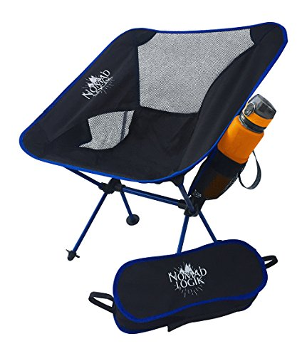 Nomad Logik black ultralight portable folding camping chairs for women adults kids compact portable lightweight collapsible camping backpacking chair cup holder bag beach, backpack chairs lightweight
