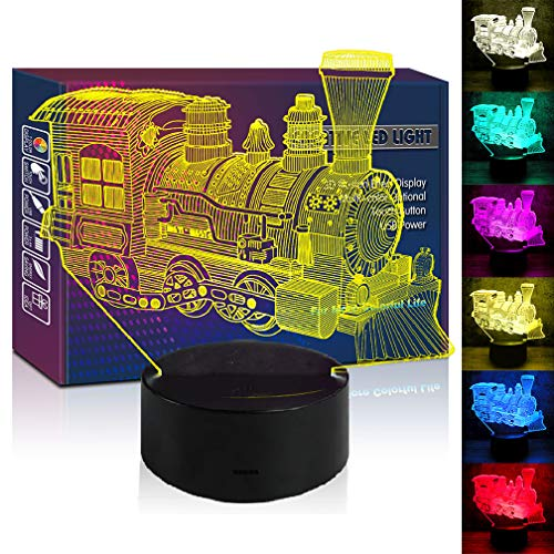 - Steam Train Transportation Engine LED 3D Illusion USB Lamp Mixed Color Optical Night Light Christmas Present Birthday Gift Car Toys for Little Baby Boy Man Nursery Bedroom Room Decor (train1)