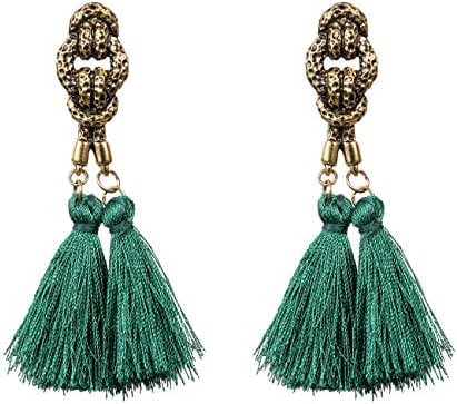 "eManco ""Colorful Life"" 8 Colors Bohemian Ethnic Long Tassel Dangle Earrings for Women Statement Jewelry"