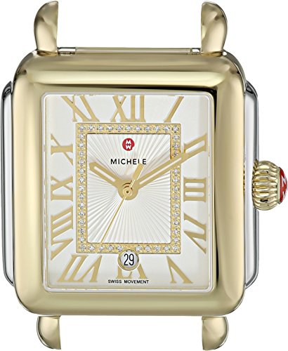 Michele-Womens-33mm-x-35mm-Deco-Madison-Two-Tone-Diamond-Dial-Silver
