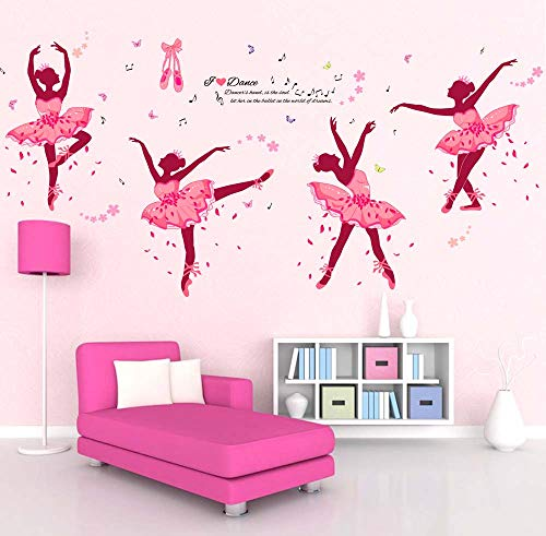 iwallsticker 74 x 38Inch DIY Ballet Girl Wall Sticker Decals Removable Pink Wall Decal Sticker Mural Art Home Dance Room Decor ()