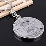 1 Pc Marvelous Popular Keychain Mini Alloy Calendar Keyring Gift Key Chain Ring Color Silver