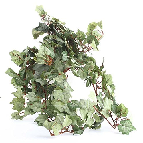 Ivy Bush - Factory Direct Craft Pair of Cascading Flocked Artificial Grape Leaf Ivy Bush for Home Decor, Crafting and Designing