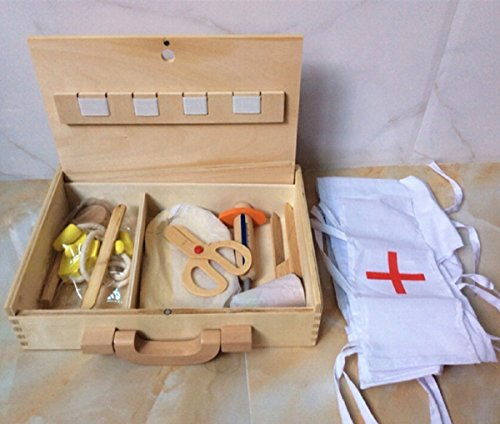 Baby Toys Doctor Set Play House Wooden Toy Simulation Medicine Cabinet Box Doctor Toy Popular Games Gift Wooden Playhouse Kits