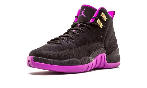 sports shoes 2d407 1a7b6 ... ebay amazon nike girls air jordan 12 retro gg black metallic gold star  hyper violet suede ...
