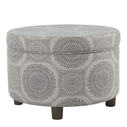 HomePop Round Upholstered Storage Ottoman, Grey Medallion