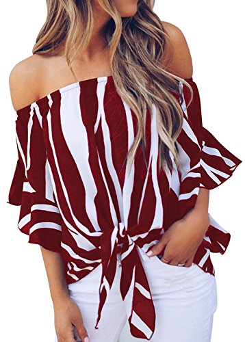 (Shawhuwa Womens Wide Stripe Off Shoulder Bell Sleeve Casual Chiffon Tops Red XXL)