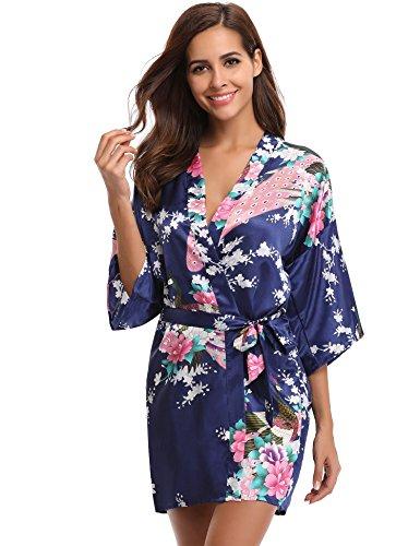 (Aibrou Womens Kimono Robe Satin Peacock Bathrobe Short Silk Bridal Robe, Dark Blue, Small)