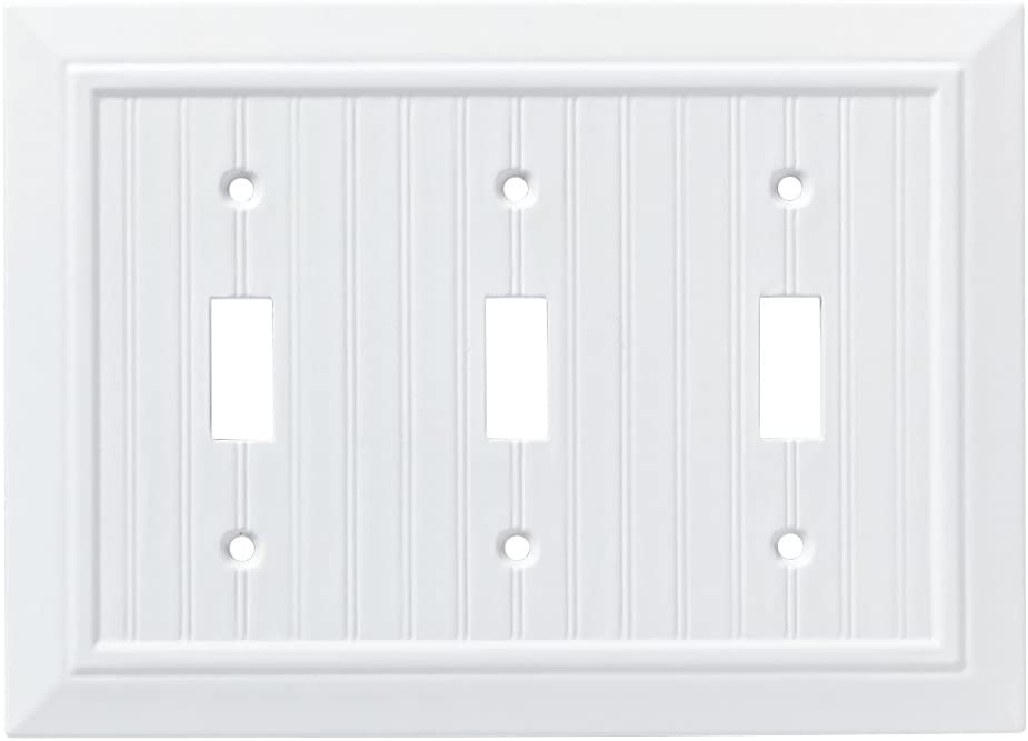 Franklin Brass W35273-PW-C Classic Beadboard Triple Switch Wall Plate/Switch Plate/Cover, Pure White