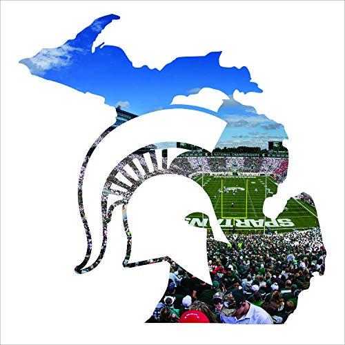- Laser Cut Metal Wall Art with Michigan State University Spartan Stadium Printed Image