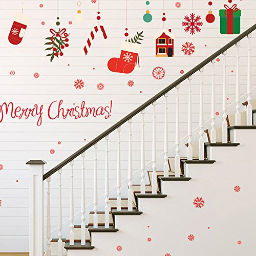 GEMYON Merry Christmas Wall Sticker Wall Mural Decals Removable Waterproof Stickers for Xmas Shop Room Decor, Party Supplies Decorations]()