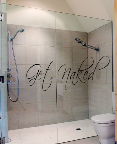 Get Naked Wall Decal Vinyl Bathroom Wall Art Stickers ()