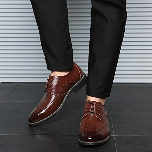 Scarpe Da Uomo In Pelle Viola Liyzu Moderne Scarpe Oxford Marrone 1