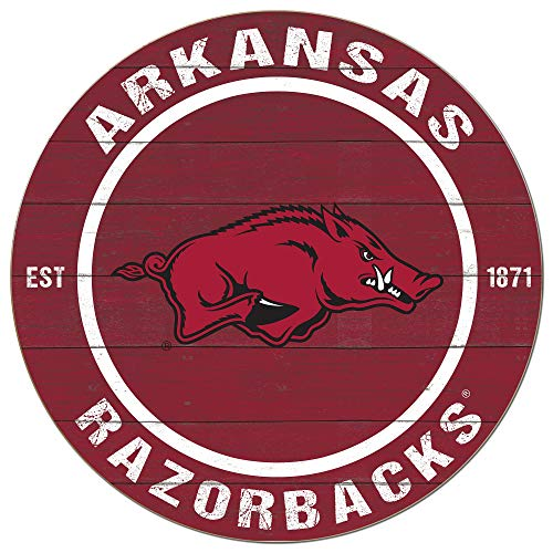 KH Sports Fan 20x20 Weathered Colored Circle - Classic Arkansas - Arkansas Sign Wood