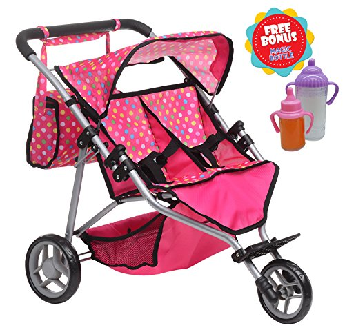 Exquisite Buggy, Twin DOLL Jogger Stroller with Diaper Bag, PINK / POLKA DOTS designed With a Carriage Bag and 2 FREE Magic Bottles Included (Fits Bitty Twins Dolls (Twin Doll Stroller)