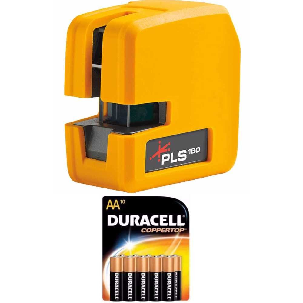 Pacific Laser Systems PLS 180 Red Tool with 10 Pack Duracell AA Batteries