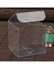 Crysdaralovebi 50 stks Vierkante Transparante PVC Doos Party Sieraden Candy Plastic Opbergdoos Clear Plastic Macaron Gift Verpakking Dozen Case