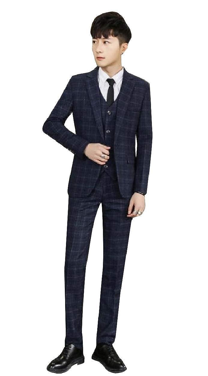 Sebaby Mens Fall Winter 3-Piece Tuxedo Blazer Jacket Pants Vest Set