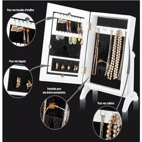 ProBache - Mini-armoire range bijoux blanche et noire avec miroir ...