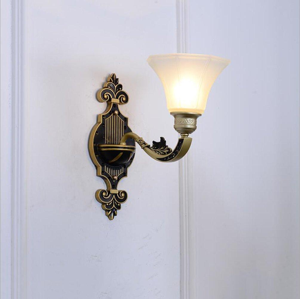 ウォールランプ亜鉛合金ウォールライトグラスシェードレトロスタイルベッドサイドウォールライト220v E14寝室、リビングルーム、バーカウンター、装飾的な壁ランプ (色 : A) B07DHH2BK4 13278 A A
