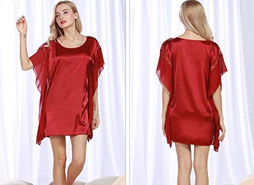 alta seta sonno LJ esterno domicilio estate pigiami di pannello size a Red servizio nuova di black d'imitazione qualità one girocollo di di signore amp;L xqAqOYwIf