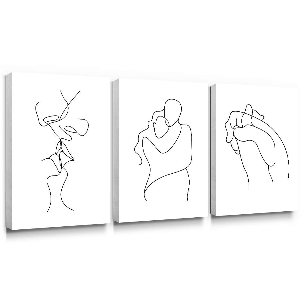 Gronda Wall Art for Bedroom Minimalist Black and White Canvas Paintings Home Decor Framed Lovers Prints Artwork Pictures for Living Room Ready to Hang 12x16 inch,3 Panels