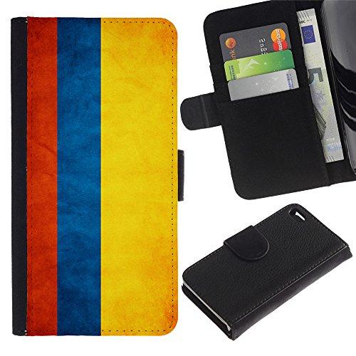 LASTONE PHONE CASE / Luxe Cuir Portefeuille Housse Fente pour Carte Coque Flip Étui de Protection pour Apple Iphone 4 / 4S / National Flag Nation Country Colombia
