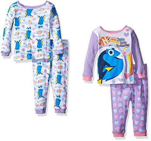 (Disney Girls' Finding Dory 4-Piece Pajama Set, Blue, 12)