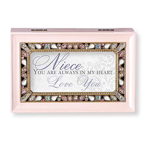 (Roman Music Boxes - Niece You are Pearlized Pink Finish with Pearl Jeweled Insert Music Box - Plays Sleeping Beauty)