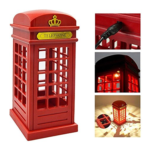 - Bedside Lamp Classic Telephone Booth, LED Night Light with Touch Sensor Table Nightlight for Home Restaurant Bedroom Decor Gift