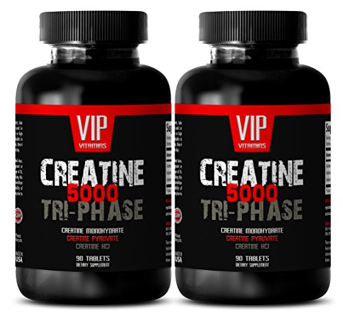Foods Creatine Monohydrate Tabs - Muscle Building Supplements for Men - Creatine TRI-Phase 5000 - Creatine Monohydrate Pills - 2 Bottles (180 Tablets)