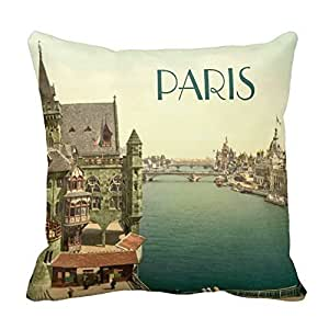 Home Decorative Cotton Standard Size 18inch Vintage Paris 1900's Throw Pillows