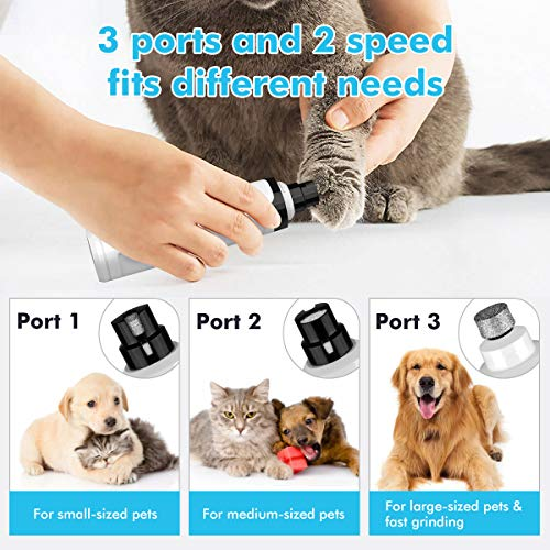 Blusmart Dog Nail Grinder Electric Pet Nail Trimmer Professional Dog Nail Trimmer Rechargeable 2 Speed Painless Paws Grooming Smoothing Quiet Pet Nail Trimmer for Small Medium Large Dog & Cat