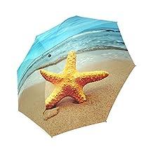Funny Starfish on Sandy Beach Sea Foldable Rain/Sun Umbrella Wind Resistant Windproof Floding Travel Umbrella