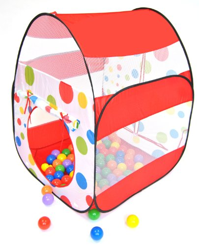 Cute Red Polka Dot Twist Play Ball Tent House for Kids w/ Safety Meshing for Child Visibility & Tote Play Tent