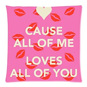 Hot Selling All of Me Loves All Of You Red Lips Pillow Case 18x18 inch (one side)