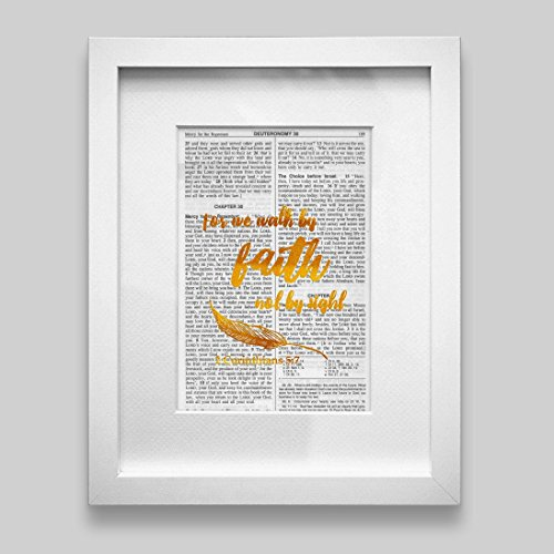 For We Walk By Faith Not By Sight Gold Foil Decor Wall Art Print Inspirational Quote 5.25 inches x 7.75 inches Faith Collectible