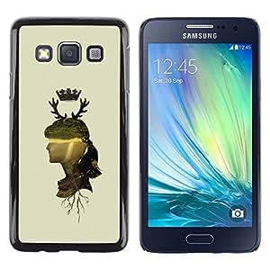 Paccase / Dura PC Caso Funda Carcasa de Protección para - Woman Profile Portrait Nature Crown Horns Deer - Samsung Galaxy A3 SM-A300