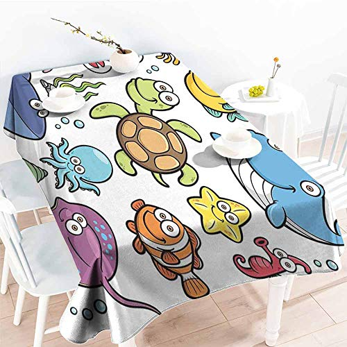 AndyTours Resistant Table Cover,Whale Ocean Animals Collection Cheerful Swimming Clown Fish and Puffer Fish Shrimp Artwork,Fashions Rectangular,W60X90L Multicolor