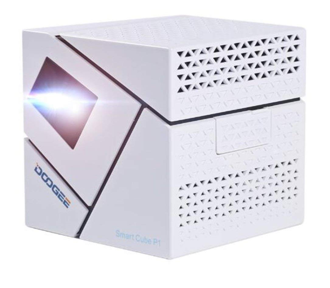 Doogee Inteligente P1 Cubo 3D Home FHD 4800mAh Mini LED 3D proyector de Home Games Monllack
