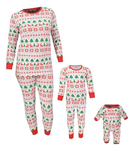 Unique Baby Unisex Christmas Family Pajama Set Daddy Mommy and Me (3 Mo, White)
