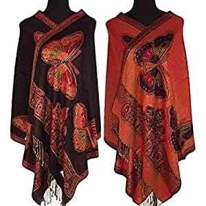 Reversible Double Sided Pashmina Butterfly Wrap Shawl Scarf Orange and Black