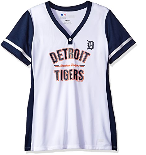 MLB Detroit Tigers Women's Team Name Rugged Competitor Pull Over Color Block Jersey, X-Large, White/Athletic Navy