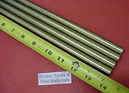 4 Pieces 7/16'' C360 BRASS SOLID ROUND ROD 14'' long New Lathe Bar Stock H02 .437'' by Stoner Metals