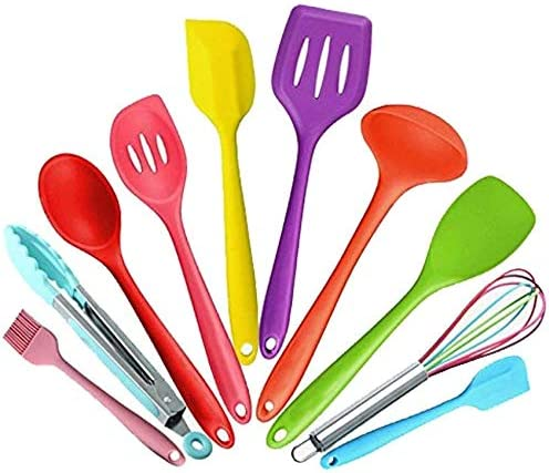 Multi-Color ,Nonstick Spatula Heat Resistant Utensils,Contains Spoon ladle Spatula EastDeals Silicone Kitchen Utensils Set Slotted Turner and Spoon Brush 10 Piece
