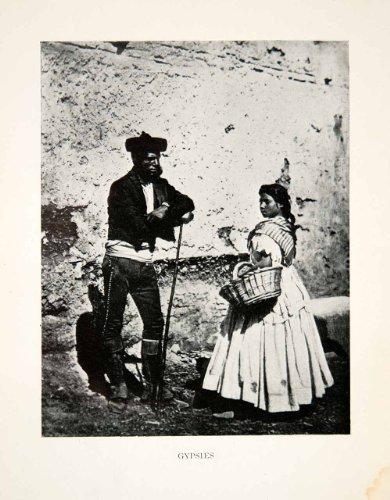 1904 Print Gypsies Portrait Ronda Spain Historic Costume Fashion Basket Seller - Original Halftone Print