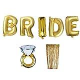 MonkeyJack Metallic Shimmer Foil Window Curtain BRIDE Letters Diamond Ring Balloons Wedding Party Hanging Decor