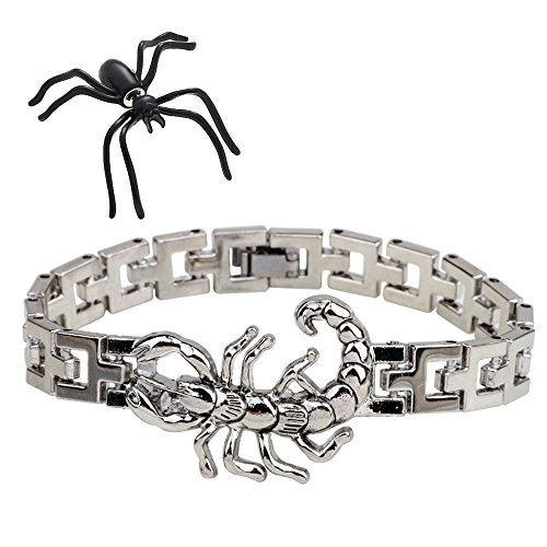 Stainless Bracelets Steel Rubber Leather (Leather&Arts Men's Stainless Steel Rubber Bracelet Link Wrist (Scorpio pendants))