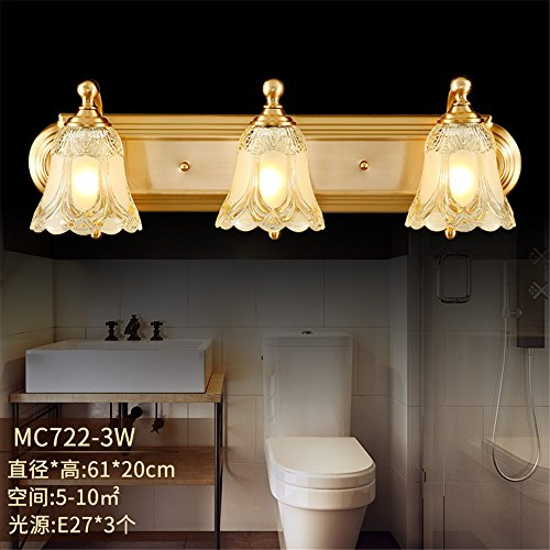 Industrial Vintage Wall Sconces Lunar Shadow, The Dayton Mirror Front Lamps Full Copper Wall lamp Crystal lamp Glass Enclosure Dual Head Wall Lights Bathroom Three-Wall Lights (6120cm)